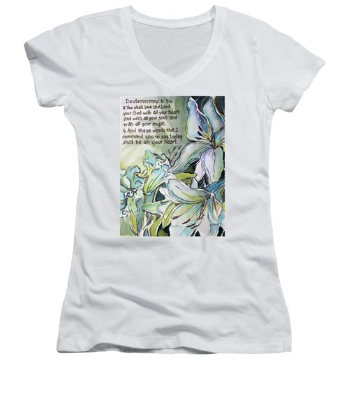 Women's V-Neck T-Shirt (Junior Cut) featuring the painting Deuteronomy 6 5-6 by Mindy Newman