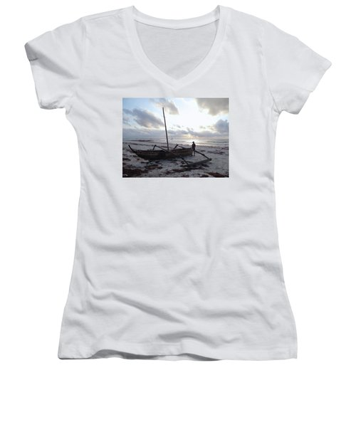Dhow Wooden Boats At Sunrise With Fisherman Women's V-Neck (Athletic Fit)