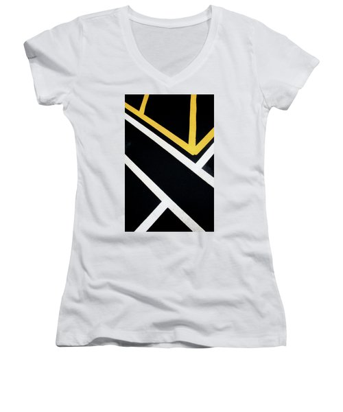 Women's V-Neck T-Shirt featuring the photograph Diagonal Path Traffic Lines by Gary Slawsky