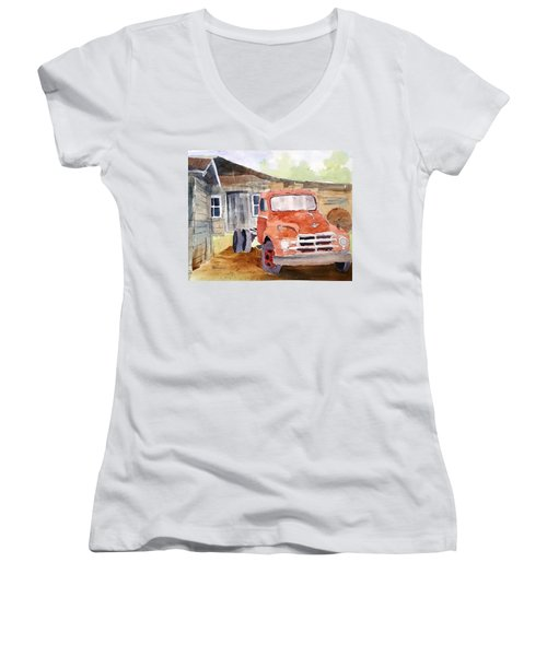 Diamond In The Rough Women's V-Neck T-Shirt (Junior Cut) by Larry Hamilton