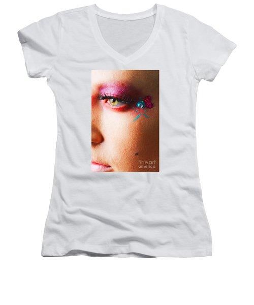 Diamond With Pink Women's V-Neck T-Shirt (Junior Cut) by Robert WK Clark