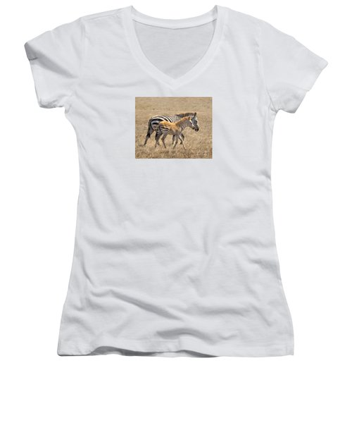 Different Stripes Women's V-Neck T-Shirt (Junior Cut) by Alice Cahill