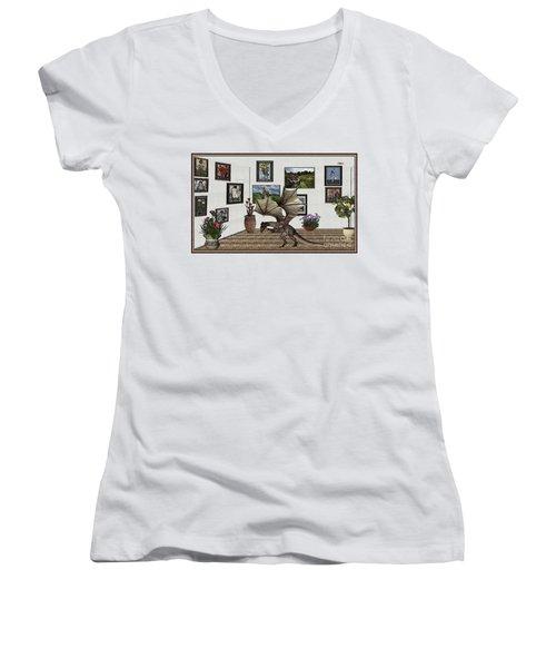Digital Exhibition _ Dragon Women's V-Neck T-Shirt