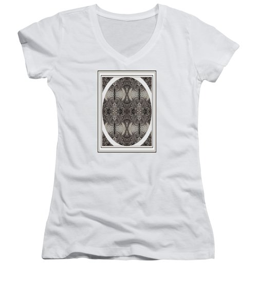Digitized Ballpoint Image Twenty One Women's V-Neck T-Shirt (Junior Cut) by Jack Dillhunt