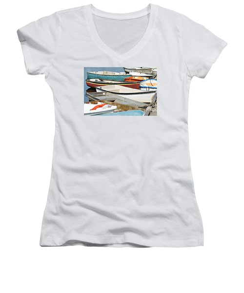 Dinghys At Bearskin Neck Women's V-Neck T-Shirt (Junior Cut) by Joe Faherty