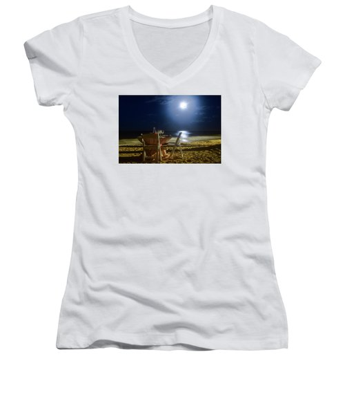 Dinner For Two In The Moonlight Women's V-Neck