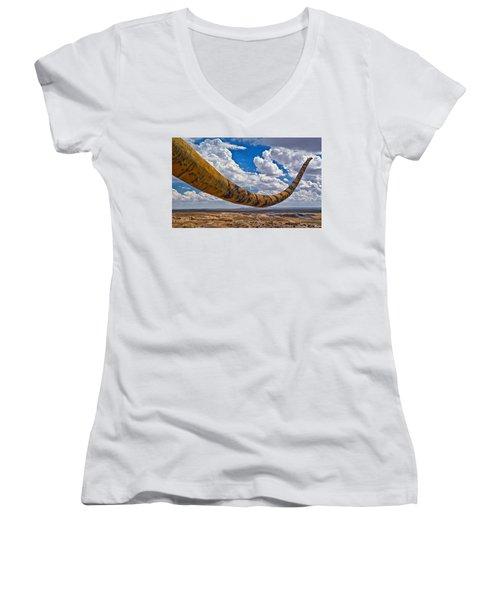 Dinosaur Tales Women's V-Neck T-Shirt (Junior Cut) by Gary Warnimont