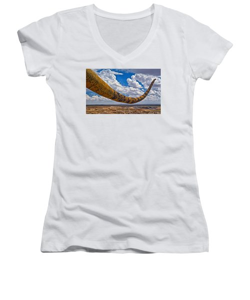Dinosaur Tales Women's V-Neck (Athletic Fit)