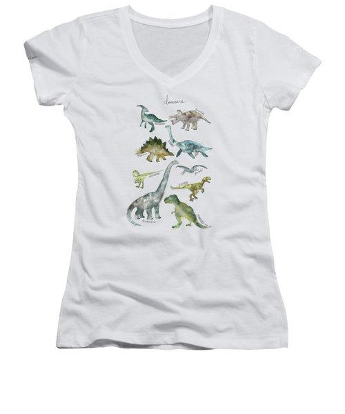 Dinosaurs Women's V-Neck T-Shirt (Junior Cut) by Amy Hamilton