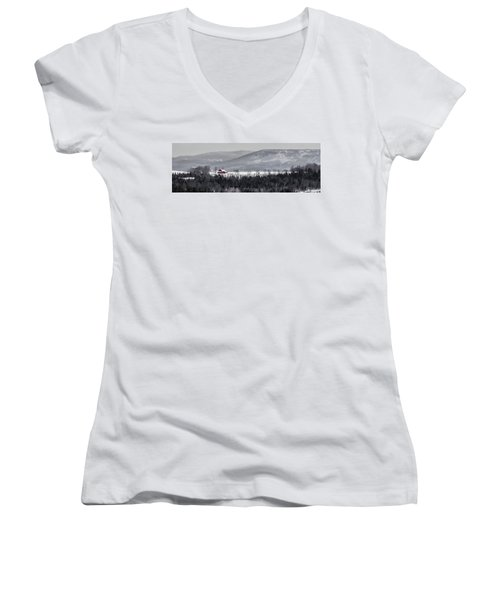 Distant Red Barn Women's V-Neck