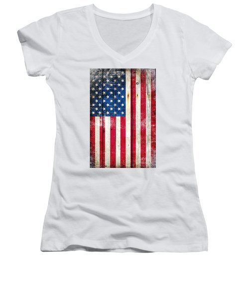 Distressed American Flag On Wood - Vertical Women's V-Neck T-Shirt (Junior Cut) by M L C