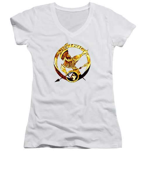 Women's V-Neck T-Shirt (Junior Cut) featuring the photograph District 12 T-shirt by Kathy Kelly