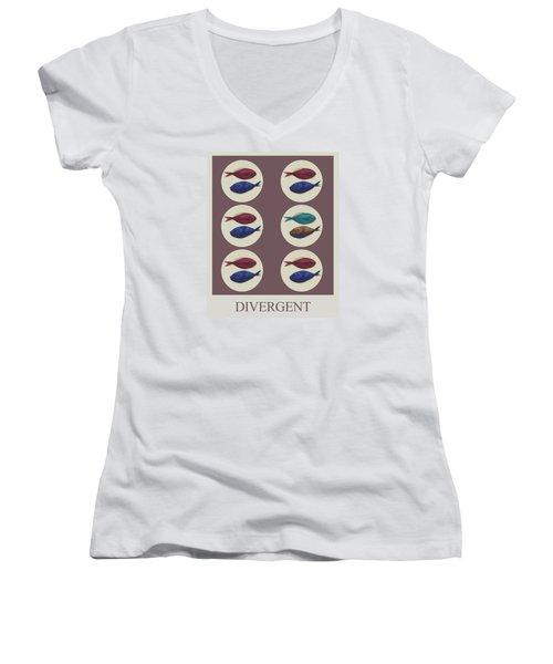 Women's V-Neck T-Shirt (Junior Cut) featuring the digital art Divergent by Galen Valle