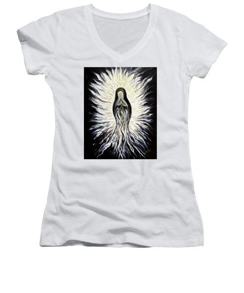 Divine Mother Black And White Women's V-Neck