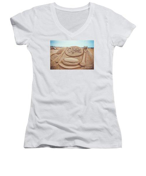 Women's V-Neck T-Shirt (Junior Cut) featuring the photograph D'jais Belmar Sandcastle by Colleen Kammerer