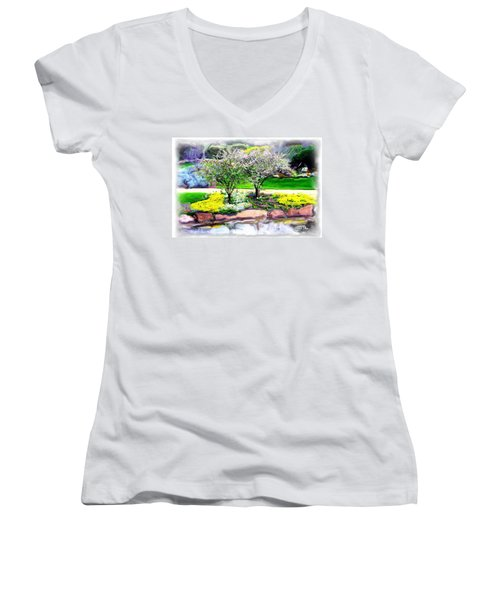 Women's V-Neck T-Shirt (Junior Cut) featuring the photograph Do-00066 Lake Walk by Digital Oil