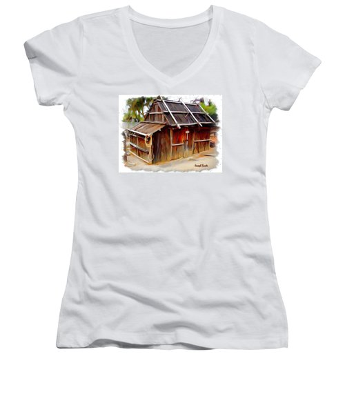 Women's V-Neck T-Shirt (Junior Cut) featuring the photograph Do-00129 Old Cottage by Digital Oil