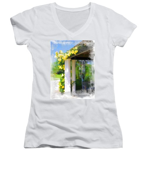 Women's V-Neck T-Shirt (Junior Cut) featuring the photograph Do-00137 Yellow Roses by Digital Oil