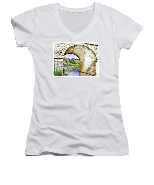 Women's V-Neck T-Shirt (Junior Cut) featuring the photograph Do-00262 Richmond Bridge by Digital Oil