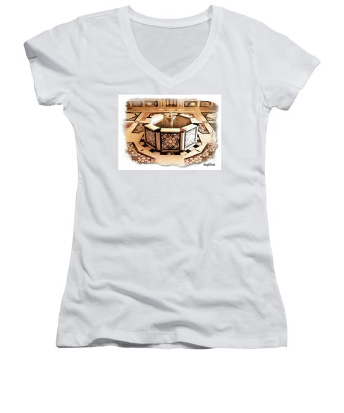 Women's V-Neck T-Shirt (Junior Cut) featuring the photograph Do-00323 Old Bath Fountain by Digital Oil