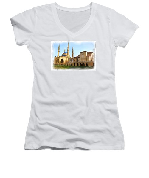 Women's V-Neck T-Shirt (Junior Cut) featuring the photograph Do-00362al Amin Mosque And St George Maronite Cathedral by Digital Oil