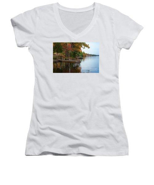 Dock On Lake In Fall Women's V-Neck