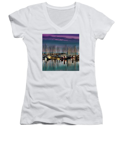 Docked Sailboats Women's V-Neck T-Shirt (Junior Cut) by David Patterson