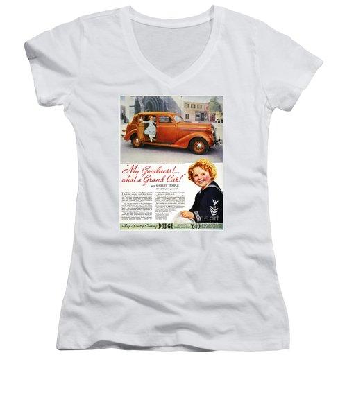 Dodge Automobile Ad, 1936 Women's V-Neck T-Shirt (Junior Cut) by Granger