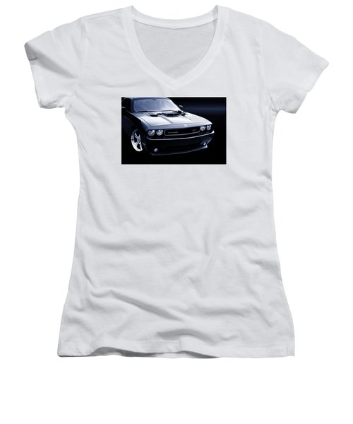Dodge Challenger Blackbird Sr-71 Women's V-Neck T-Shirt