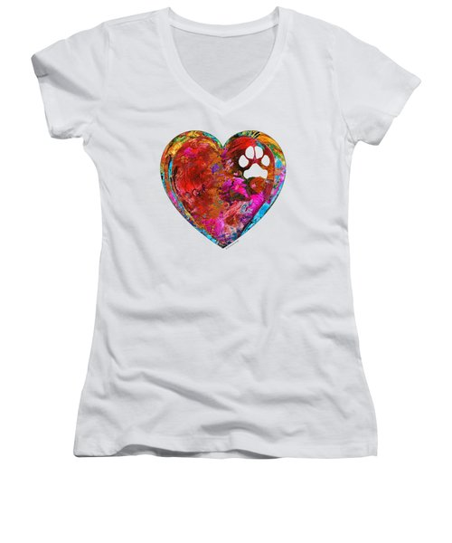 Dog Art - Puppy Love 2 - Sharon Cummings Women's V-Neck T-Shirt (Junior Cut) by Sharon Cummings