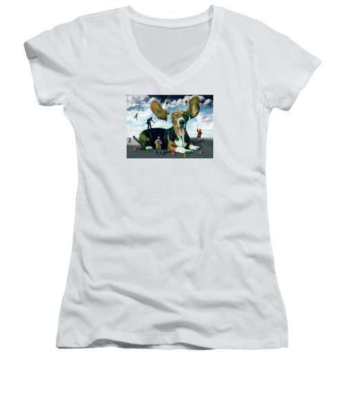 Dog Construction Women's V-Neck (Athletic Fit)
