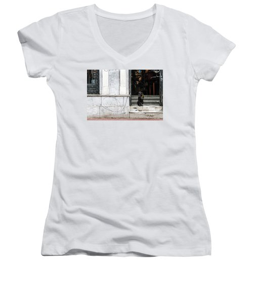 Dog From The Block Women's V-Neck T-Shirt (Junior Cut) by Silvia Bruno