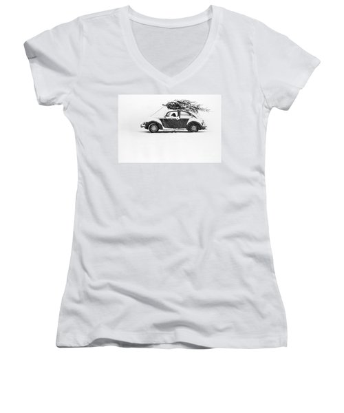 Dog In Car  Women's V-Neck (Athletic Fit)