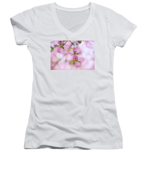 Dogwood Sunset Women's V-Neck T-Shirt (Junior Cut) by Rima Biswas