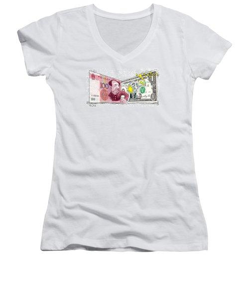 Dollar Vs Yen Women's V-Neck