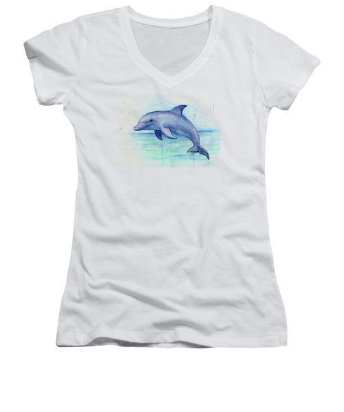 Dolphin Watercolor Women's V-Neck (Athletic Fit)