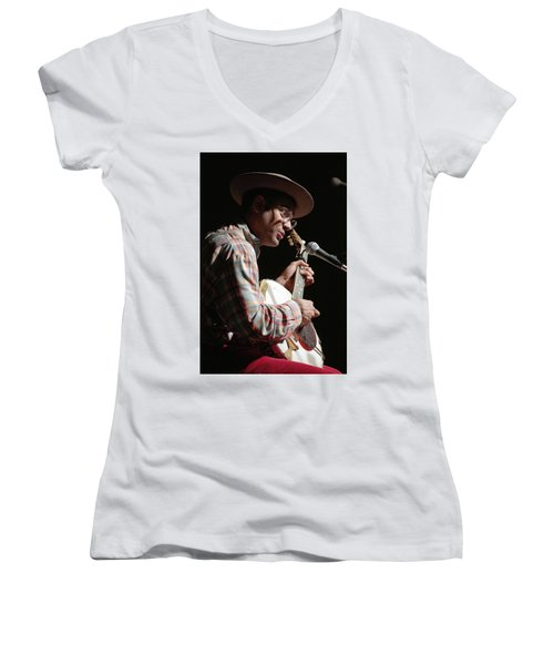 Women's V-Neck T-Shirt (Junior Cut) featuring the photograph Dom Flemons by Jim Mathis