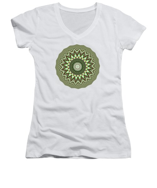 Dome Of Chains Mandala By Kaye Menner Women's V-Neck T-Shirt (Junior Cut) by Kaye Menner