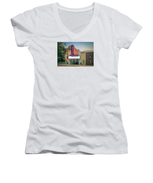 Women's V-Neck T-Shirt (Junior Cut) featuring the photograph Don Gibson Theatre by Marion Johnson
