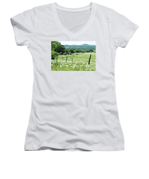 Women's V-Neck T-Shirt (Junior Cut) featuring the photograph Done In White by Joe Jake Pratt