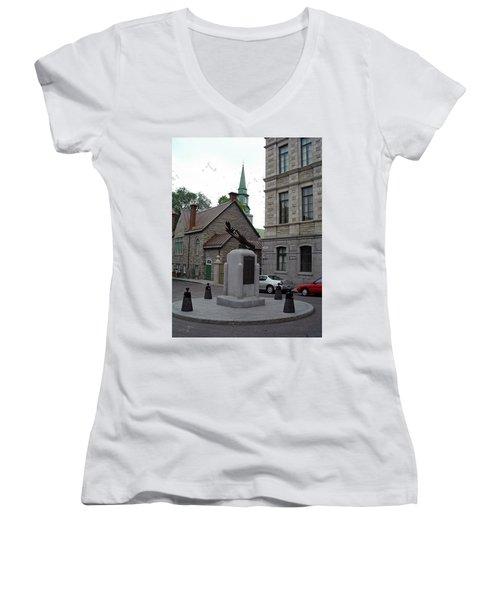 Women's V-Neck T-Shirt featuring the photograph Donnacona And Du Parloir by John Schneider