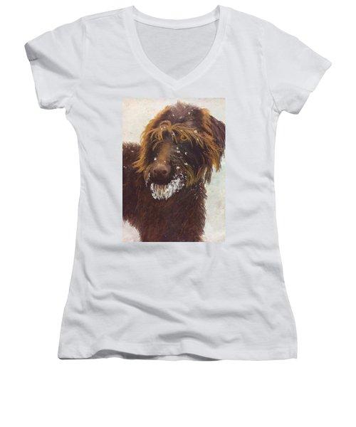 Don't Eat The Snow Women's V-Neck T-Shirt (Junior Cut) by Nancy Jolley