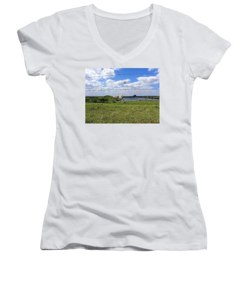 Women's V-Neck T-Shirt (Junior Cut) featuring the photograph Don't Fence Me In by Chris Mercer