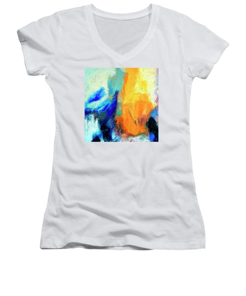 Women's V-Neck T-Shirt (Junior Cut) featuring the painting Don't Look Down by Dominic Piperata