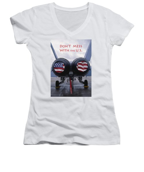 Don't Mess With The U. S. Women's V-Neck (Athletic Fit)