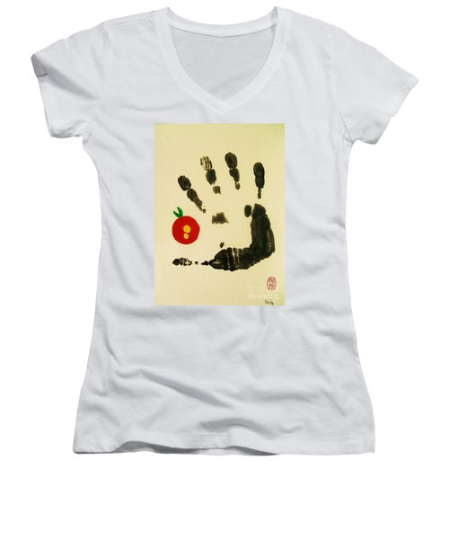 Don't Touch Me Women's V-Neck T-Shirt (Junior Cut) by Roberto Prusso