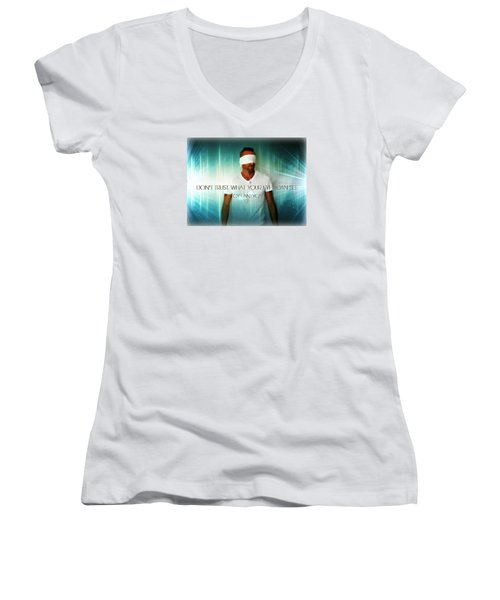 Women's V-Neck T-Shirt (Junior Cut) featuring the photograph Don't Trust by Cyryn Fyrcyd