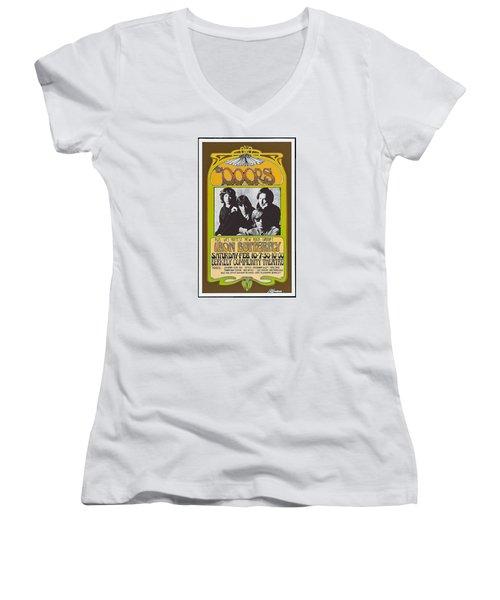 Doors/iron Butterfly Concert Poster Women's V-Neck T-Shirt (Junior Cut) by Allen Beilschmidt