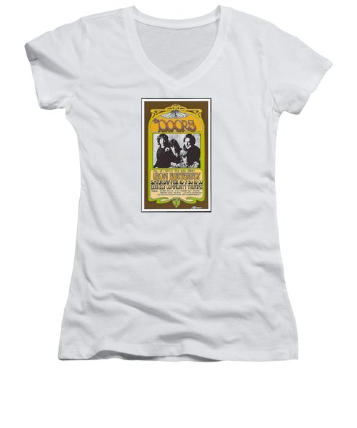 Doors/iron Butterfly Concert Poster Women's V-Neck (Athletic Fit)