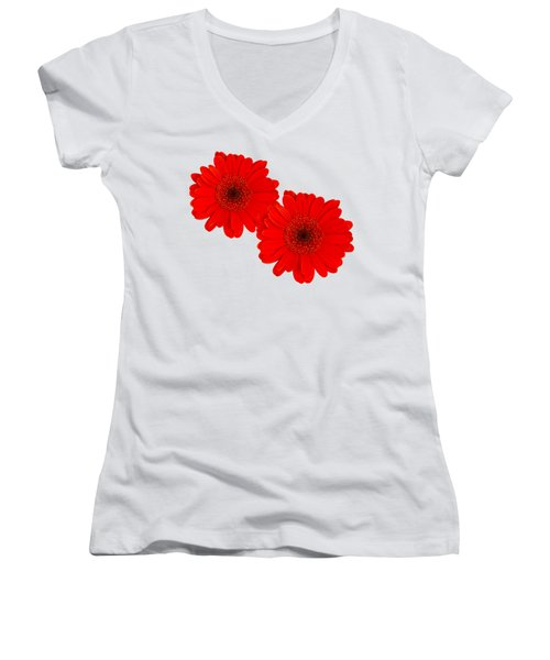 Double Gerbera Women's V-Neck T-Shirt (Junior Cut) by Scott Carruthers